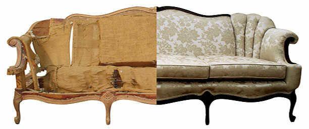 Detalle tapizado e interior de sofá clasico a tapizar