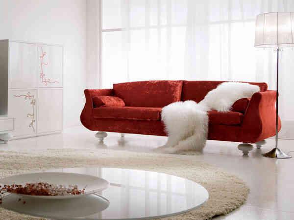 Sofa tapiceria rojo renovado y tapizado