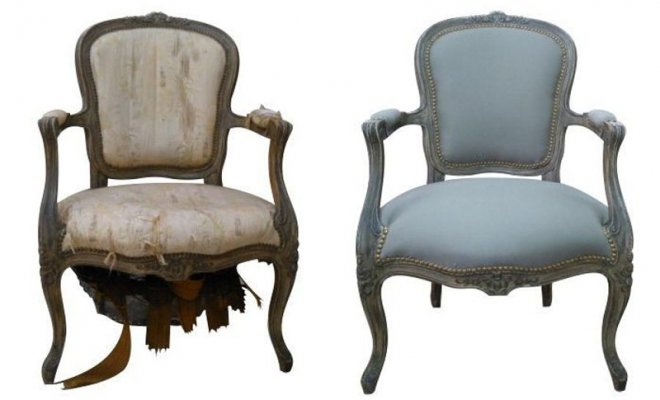 Detalle silla antes y después de ser tapizada